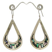 Vintage Large Teardrop Sterling And Abalone Taxco Earrings