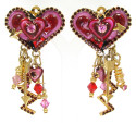 Vintage Lunch At The Ritz Valentine Hearts Earrings