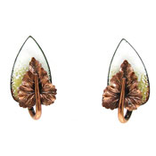 Vintage Matisse Copper And White Enamel Leaf Earrings