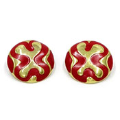 Vintage Monet Red Enamel And Gold Round Earrings