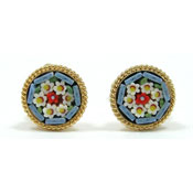 Vintage Italian Mosaic Flower Earrings
