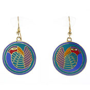Laurel Burch Mynah Bird Earrings Vintage