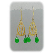 Green Peking Style Glass Drops And Gold Earrings - Two Styles