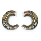 Vintage Berebi Bold Primary Colors And Brushed Bronze Earrings