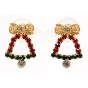 Vintage Rhinestone Christmas Bell Earrings
