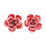 Vintage Pink Enameled Metal Rose Earrings By Robert