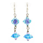 Vintage Sterling And Blue Lampwork Earrings