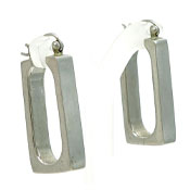 Sterling Open Rectangle Earrings