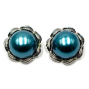Vintage Big Round Teal Pearl Earrings