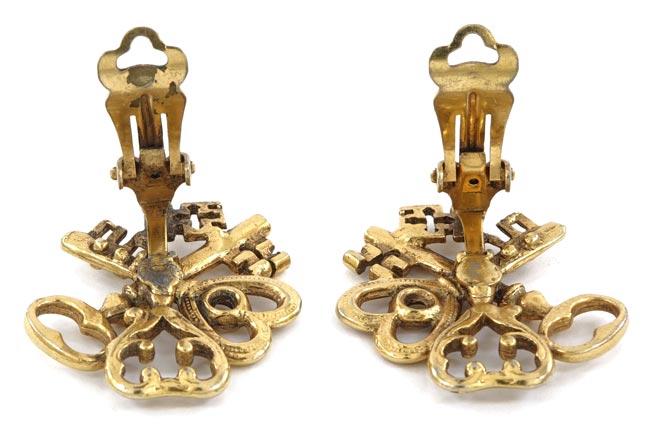 Vintage Three Old Fashioned Keys Clip Earrings