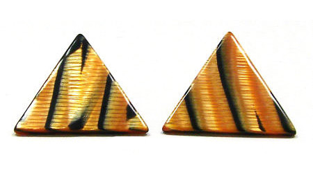 Vintage Refractive Tiger Triangle Earrings
