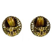 West Germany Brown Porphyry Glass Filigree Earrings