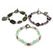 Lot Of Three Handcrafted Bracelets With Stones Crystals Etc