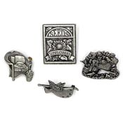 Four Pewter Birds And Blooms And Limited Edition Pins