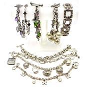 Lot Of Nine Silvertone Bracelets Charms Cookie Lee And More