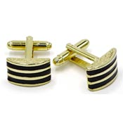 Vintage Gold And Black Enamel Lines Cufflinks