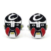 Vintage Black Chinese Opera Mask Cuff Links Peking