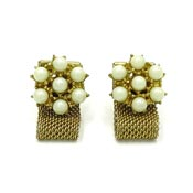 Faux Pearl And Goldtone Mesh Wrap Around Cufflinks