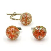 Vintage Orange And Clear Crackle Glass Cufflinks And Tie Tack Set