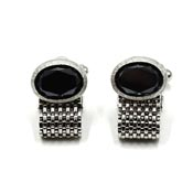 Swank Faceted Black Glass And Silver Mesh Cufflinks