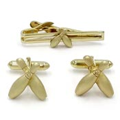 Vintage Swank Gold Bowling Pin Cufflinks And Tie Clip