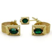 Wrap Around Mesh With Green Stones Cufflink And Tie Tack Set Swank