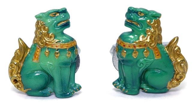 Vintage Toshikane Porcelain Fu Dog Cuff Links