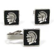 Vintage Trojan Cuff Links And Tie Clip Set