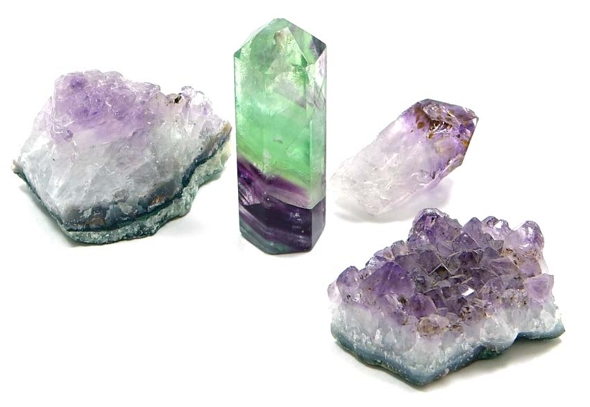 Amethyst And Flourite Crystal Lot