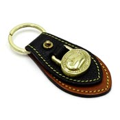 Dooney & Bourke Black And British Tan AWL Keyfob