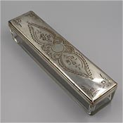 Silver Plated Engraved Top Glass Trinket Dresser Box