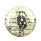 Vintage Man Sitting On A Wall Pocket Mirror