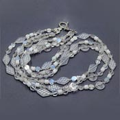 Three Line Frosted Glass Beaded Necklace