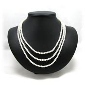 Vintage Three Line Pearl Necklace With Fancy Clasp