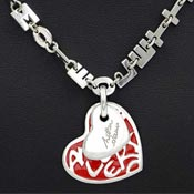 Love Letters Sterling And Red Enamel Heart Necklace