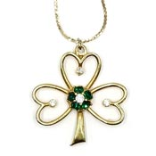 Vintage Beatrix Shamrock With Rhinestones Pendant Necklace
