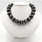 Big Black And Cream Carved Bead Necklace