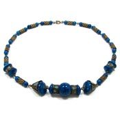 Vintage Czech Blue Beaded Enamel Necklace