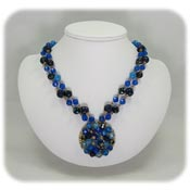 Vintage Blue Beaded Filigree West Germany Necklace