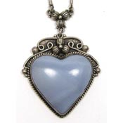 Vintage Sterling Silver Blue Lace Agate Heart Necklace
