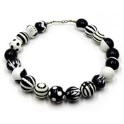 Fantastic Black And White Painted Wooden Bead Necklace Op Art