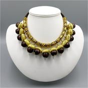 Rare Cadoro Brown And Gold Acorn Necklace