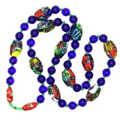 Cobalt Glass And Millefiore Glass Bead Necklace Gorgeous