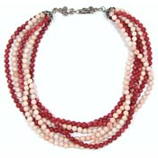 Vintage Sterling Silver Red Coral And Peach Stone Necklace