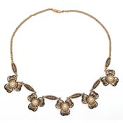Vintage Spanish Damascene Clover Necklace With Pearls