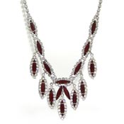Vintage Deep Red And Clear Rhinestone Necklace