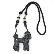 Vintage Black Poodle With Moveable Legs Necklace By Dorian Designs