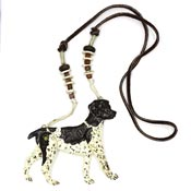 Vintage Brown And White Dog With Moveable Legs Necklace By Dorian Designs