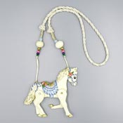 Vintage White Horse With Moveable Legs Necklace By Dorian Designs