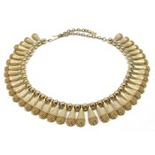 Vintage Egyptian Revival Gold Granulated Drop Choker